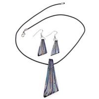 murano ожерелье серьги наборы оптовых-Серьги из колье в полоску из муранского стекла