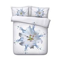 Wholesale large bedding set resale online - 3D Large Flower Print Duvet Cover Set Bedding with pillowcase Microfiber Quilt Cover Zipper Closure NO Comforter