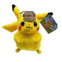 dolmalık peluş santa toptan satış-En çok satan Dedektif Pikachu Peluş bebek oyuncak 20 cm 35 cm Pikachu peluş oyuncaklar karikatür Dolması hayvanlar yumuşak en iyi Hediyeler 20 cm Dedektif Pikac
