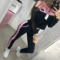 Wholesale hiking apparel for sale - Group buy Mesh Yarn Tracksuits Splicing Pullover Trousers Suit Sports Hoodies Pants Clothing Women Autumn Winter Apparel yw H1