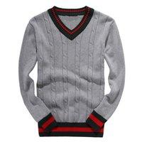 suéter de punto de manga de bordado al por mayor-Venta alta Cuello redondo Hombres Ocio Suéteres lujoso bordado suéter manga larga jersey suéter de punto Zip cardiga camisa de color sólido