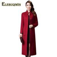 ingrosso high collar wool belt-4XL Plus size Womens Long Woolen Giacche Autunno mezza alta cintura colletto monopetto moda femminile Double sided lana cappotto L165