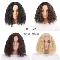 marrom escuro bob perucas venda por atacado-Bob peruca curto sintético misturado cor preta mix perucas castanho escuro para as mulheres comprimento médio resistente ao calor perucas cosplay encaracolado frente peruca de cabelo humano