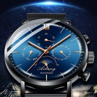 часы для часов steampunk оптовых-Swiss top  watch men's waterproof stainless steel belt automatic mechanical watch man steampunk fashion clock Leather 2018