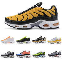 Wholesale outdoor army shoes hiking resale online - Tn Chaussures Golden tn plus Mens Running Shoes Triple Black Bee Yellow Man Youth Trainers Fly Designer Sports Outdoor Sneakers Size