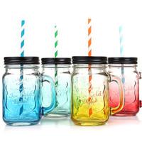ingrosso deposito della tazza-Vetro Mason Jar Mason Honey Salad Bottle con coperchio Succo Drink Glass Office Mug Mug Mason Storage Bottles