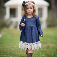 mode-design baby kleidung großhandel-2019 Baby Mädchen Flare Sleeve Denim Kristall Applique Kleid Mode Ins Kinder Ostern Cosplay Kostüme Design Kleidung Tageskleider