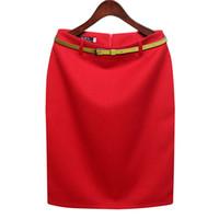 orta boy etekler toptan satış-S-3xl Artı Boyutu Kış Sonbahar Yün Kalem Etek kadın Resmi Ol Çalışmak Giymek Orta uzunlukta Yüksek Bel Etek Ile Kemer
