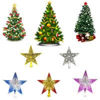 Wholesale christmas ornament tops resale online - Christmas Tree Top Star Decoration Xmas Tree Hollowed Sparkle Hang Star Shape Xmas Tree Pendant Christmas Decorations