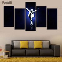 стенное искусство танцевальной панели оптовых-5 Panel World Dance King Michael Jackson Painting Canvas Wall Art Picture Home Decor Living Room Canvas Print Modern Painting
