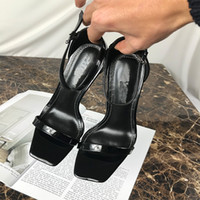 Wholesale 11 cm shoes for sale - Group buy Brand ultra high sandals women with letters During a word with contracted ankle fashionable leather shoes With cm high us34