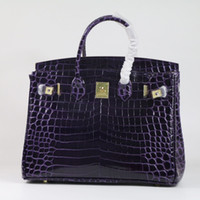 пурпурная сумка из крокодила оптовых-Purple Crocodile Pattern Women Bag\Handbag 35CM  Classic Genuine Leather Female Bag Cowhide ladies' Big Tote Shoulder Bag