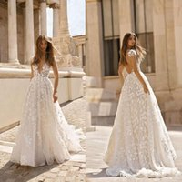 Wholesale romantic sexy short beach wedding dresses resale online - Romantic Ivory Capped Sleeves Lace Wedding Dresses Deep V Neck Backless A Line Tulle Lace Appliqued Wedding Bridal Gowns BC0771