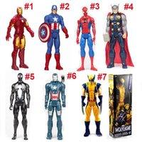 figuras quentes grátis venda por atacado-Hot Os Vingadores Figuras de Ação PVC Marvel Heros 30 cm Homem De Ferro Spiderman Capitão América Ultron Wolverine Figura Brinquedos DHL Livre 5