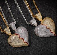 parejas de corazón roto colgante al por mayor-Punto de la personalidad del hip-hop de dos horas y media combinación angustia colgante de cobre con incrustaciones de circonio pareja rota corazón colgante magnético