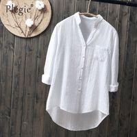 blusa branca de mangas compridas venda por atacado-100% algodão 2019 primavera verão mulheres blusa branca de manga comprida de algodão fino trabalho ocasional camisas brancas do escritório senhora botão tops