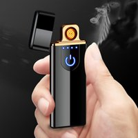 Wholesale lighter custom resale online - Charging lighter Touch induction windproof electronic ultra thin USB cigarette lighter custom Metal DLH232