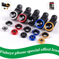 Wholesale telescope for cell phone for sale - Group buy Portable Wide Angle Lens with clip mobile Phone Lens Fisheye Camera For iPhone External Microscope Telescope Optical Zoom Cell Phone Kit