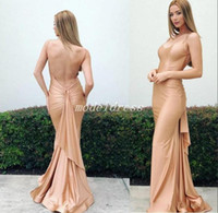 Wholesale occasion elastic spaghetti special dresses resale online - Champagne Sexy Back Mermaid Evening Dresses Spaghetti Backless Draped Ruffles Formal Prom Party Gowns Special Occasion Dress Cheap