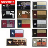 texas abzeichen großhandel-GUGUTREE HOOkLOOP Stickerei Texas Flag Patches Nationalflagge Patches Abzeichen Applikation Patches für Kleidung SP-582