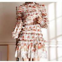 mini falda conjuntos de camisa al por mayor-ZIMM Summer New Print Slim Lantern Camisa de manga larga + Conjunto de falda de media torta floral