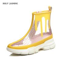 botas de plataforma de tobillo claro al por mayor-2019 botines de verano para mujer zapatos de plataforma de suela redonda gruesa transparente PVC botas cortas Botas claro mujer zapatos de mujer
