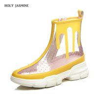 bottes compensées à la cheville achat en gros de-2019 bottines d'été pour femmes semelle épaisse bout rond plate-forme chaussures transparent bottes courtes en PVC clair Botas Mujer femme chaussures