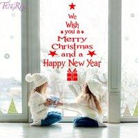 etiquetas da janela do feliz natal venda por atacado-Janela Parede Decoração do Natal Adesivos Para Casa 2019 Ano Novo Feliz Natal Ornaments Xmas feliz 2020