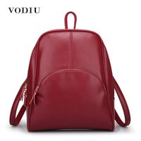 Wholesale blue color laptop resale online - Women Backpack For Teenagers Girls Laptop Waterproof Female Casual Motorcycle Candy Color Zipper Genuine Leather Bags Designer