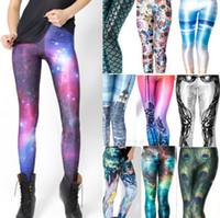 nuevas polainas calientes al por mayor-Venta caliente mujeres leggins 3D Digital leche negra Zombie Queen Skeleton Galaxy Print Leggings para mujer 2017 nuevos pantalones al por mayor