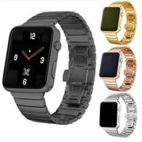 relógios de pulseira de metal preto venda por atacado-Elegante Banda De Metal Em Aço Inoxidável Para A Apple assista Relógio Inteligente Strap Substituição de Um Grânulo preto sliver gold rose