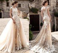 sheer wedding dresses venda por atacado-Champagne Lace A Line Vestidos de noiva 2020 Sheer Tulle Applique Sobre Saias Bow Sash Vestidos de noiva de casamento robe de mariée BA5359