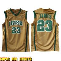 camisetas amarillas de baloncesto al por mayor-Escuela Secundaria 23 LeBron Jersey para hombre Blanco Verde Amarillo jerseys baratos al por mayor de baloncesto bordado Logos alta zoixucviozxucvi