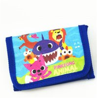 Wholesale boys long wallet for sale - Group buy INS Kids Baby Shark Trifold Wallets Cartoon Animal Printed Coin Bags Purses Boys Girls Handbag Long Nylon Pouch Children Party Gifts B7031
