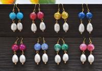 pendientes de ágata blanca al por mayor-Pendiente cuelgan perlas facetadas D0438 ágata arroz blanco
