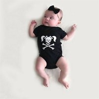 tecido do crânio do bebê venda por atacado-Horror Halloween crianças tecido crânio do osso Impresso traje Little Sister Cotton cosplay babador crianças Halloween