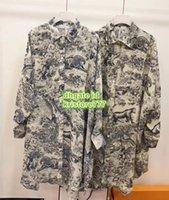 uzun kollu elbiseli iki renk toptan satış-2019 Kadın Üstleri Mürekkep Orman Hayvan Baskı Boy Bluz Ile Kemer High-End Özel Yaka Boyun Iki Renk Uzun Kollu Gömlek Mini Elbise