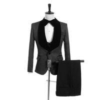 ingrosso tuxedo grigio montato-Dark Grey jacquard nozze smoking Slim Fit Completo uomo Groomsmen abito a tre pezzi economici Prom abiti formali (Jacket + Pants + Vest + Tie) 028