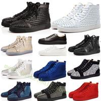 los zapatos claveteados liberan el envío al por mayor-2019 Casual Lover Shoes Marca Studded Spikes Flats Shoes Red Bottom para el partido de las mujeres para hombre Zapatillas de deporte de cuero genuino 35-46 Envío gratis
