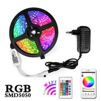светодиодные световые шнуры оптовых-5M 10M 15M RGB светодиодных ленты свет шнура Водонепроницаемая Fiexble свет водить ленты лента 5050 светодиодных ламп с контроллером Power Plug