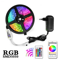 enchufes planos al por mayor-Cadena de luz 5M 10M 15M RGB LED impermeable cinta Fiexble luz de la cinta LED 5050 lámparas LED con el regulador de Plug Power