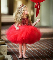 Wholesale tutu skirt for graduation for sale - Group buy 2019 real picture red Tiered short tutu skirt Flower Girl Dresses For Wedding Princess sequined Girls Pageant Gowns Children Communion Dress