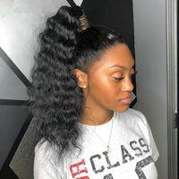 remy rizado extensiones de cola de caballo al por mayor-8A Afro suelta Curly Ponytail Extensiones de cabello humano Remy negro natural Clip de cabello humano en coletas 120gram Off Black Color pony cordón