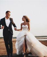vestido de designer de renda de tulelete venda por atacado-Novo Designer Rústico Querida Lace Appliques Romântico Tule A Linha de Vestidos De Noiva Noiva Boho Vestidos De Casamento Novia
