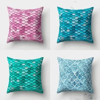 Wholesale scale 16 resale online - Mermaid Pillow Covers Fish Scale Square Pillow Case Mermaid Throw Pillow Cushion Covers Sofa Car Home Decor Designs YW3010