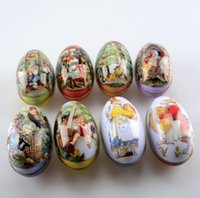 Wholesale tin easter eggs for sale - Group buy big size Easter Egg Tin Box mixed pattern wedding candy box Storage case SN2048