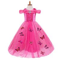 ingrosso abiti banchetti blu-Bolla di bambini gonna abito principessa farfalla pizzo Abito Halloween blu Tutu principessa Abiti banchetto Party Dress