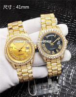 diamante suizo 18k al por mayor-18 k oro amarillo completo diamante reloj para hombre Diamante números romanos día-fecha cristal de zafiro reloj suizo automático 3 colores