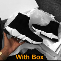 Wholesale men s sneakers resale online - With Box Designer Socks Speed Trainers Knit Paris Sock Shoe Sock Knit Triple S Boots Trainers Runner sneakers size Men Women c19