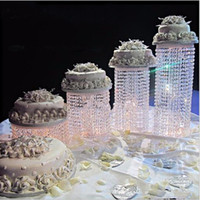 Wholesale wedding top cake for sale - Group buy New Hot Luxury Crystal Acrylic Cake Stand Wedding Table Top Decoration Centerpieces Cake Display For Birthday Party Supplies